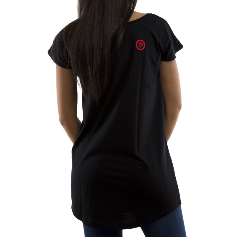 t-shirt long cuore nero retro