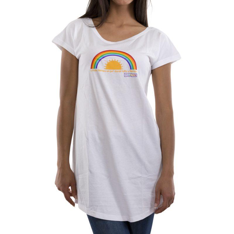 t-shirt long malu tiempu bianco fronte