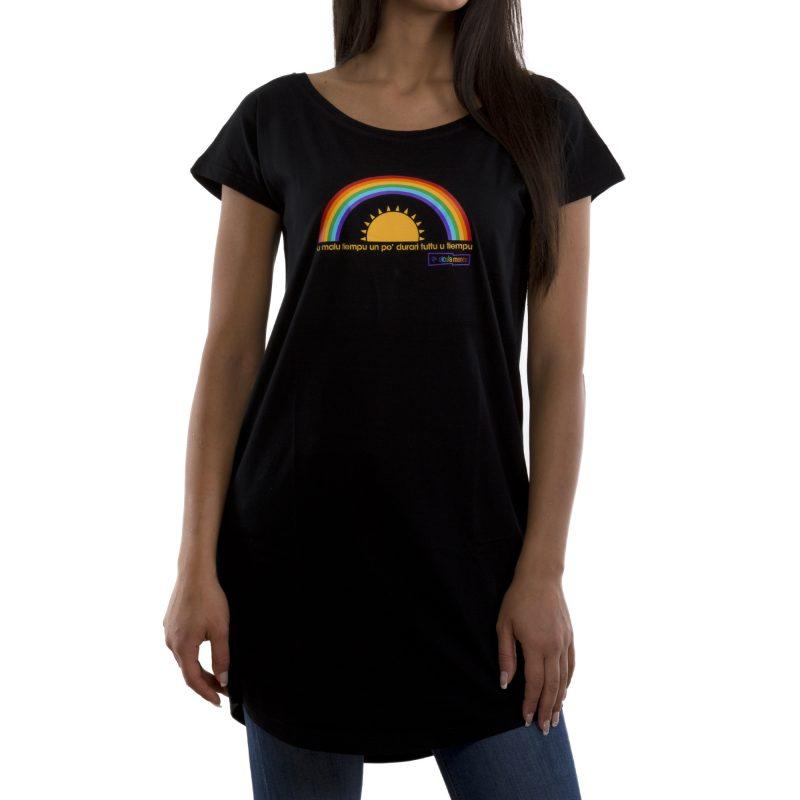 t-shirt long malu tiempu nero fronte