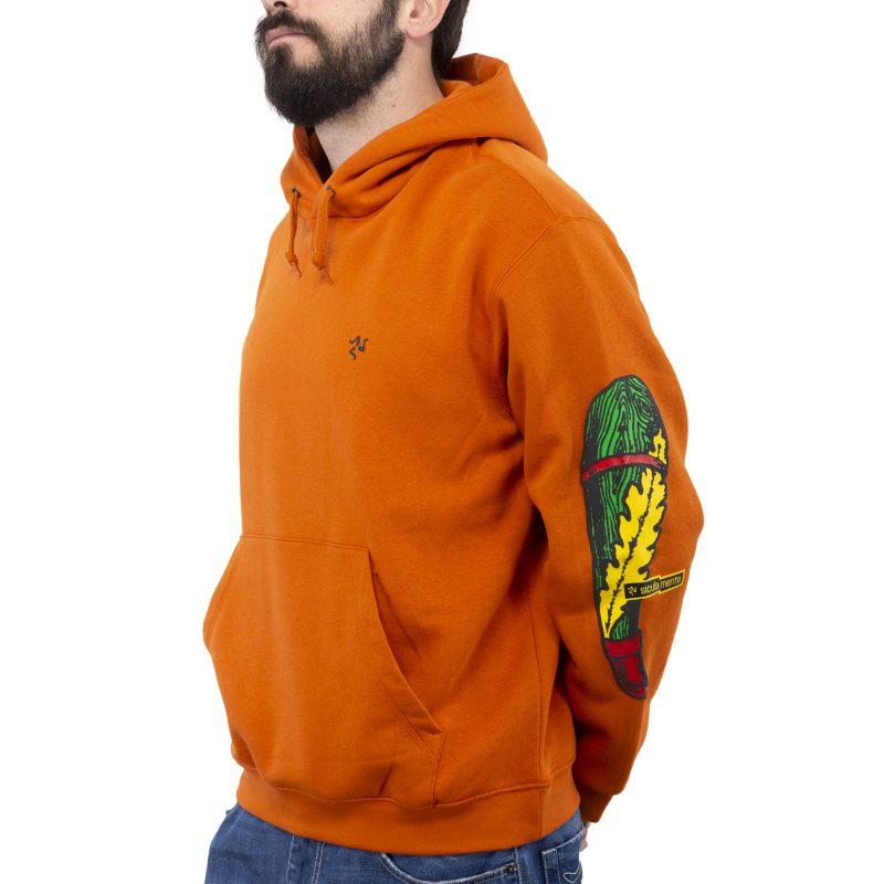 felpa cappuccio asso arancione fronte