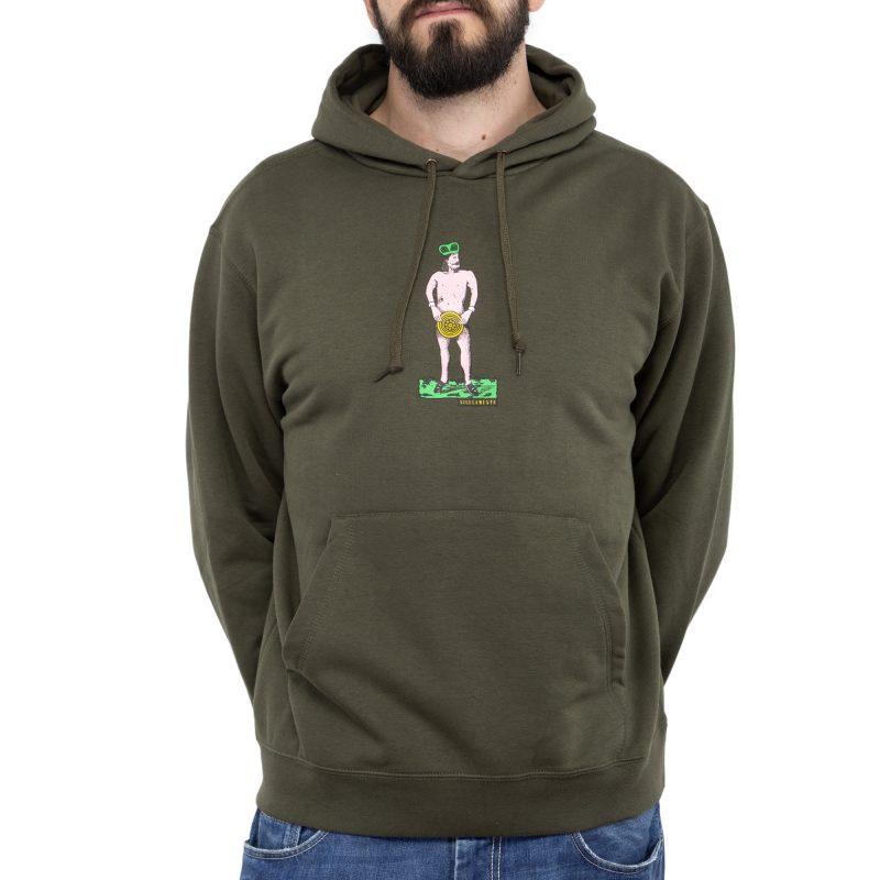 felpa cappuccio re nudo verde militare fronte