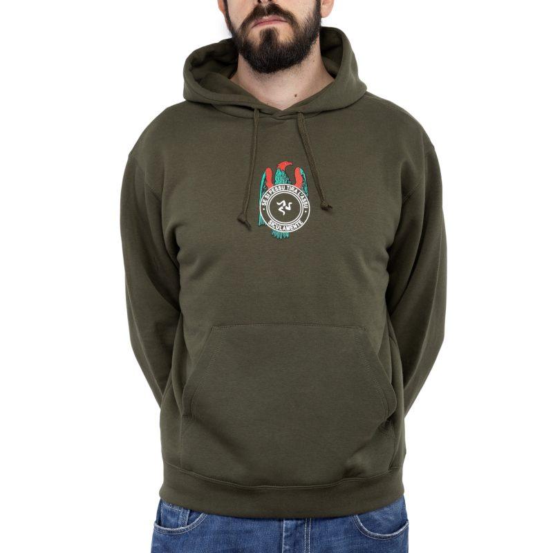 felpa cappuccio se si pessu verde militare fronte